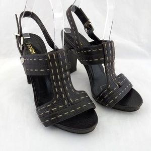 Fendi 37 Heels Sandals Brown Leather Buckle Ankle